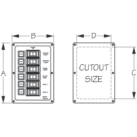 ALUMINUM VERTICAL SWITCH PANEL by:  SeaDog Part No: 422110-1 - Canada - Canadian Dollars