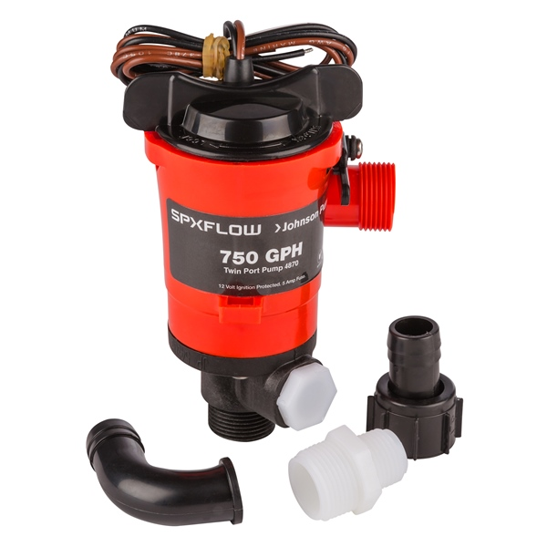 750 GPH Aerator./Livewell pump, Twin Out by:  JohnsonPump Part No: 48703 - Canada - Canadian Dollars