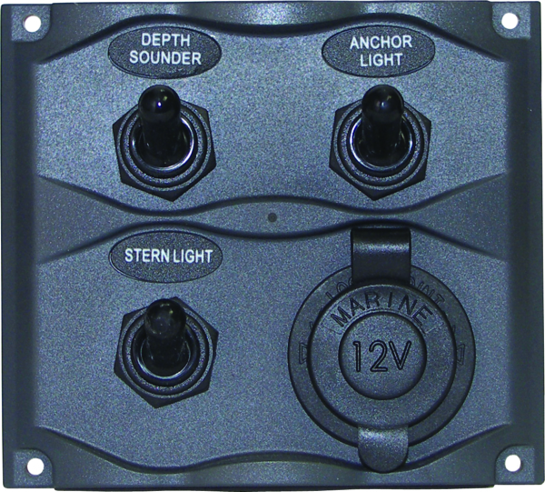 3 Gang Switch Panel with Power Outlet by:  Boatersports Part No: 51370 - Canada - Canadian Dollars