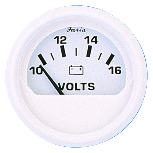 "Faria Dress White 2/"" Voltmeter 10-16v VP9139 #13120"