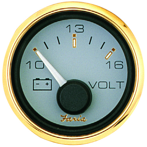 VOLTMETER 16V DC SIG. GOLD by:  Faria Part No: 14505 - Canada - Canadian Dollars