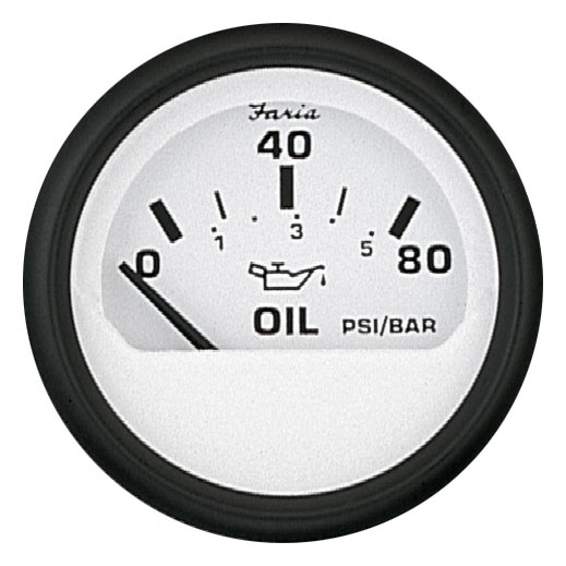 OIL PRESSURE 80PSI EURO WHITE by:  Faria Part No: 12902 - Canada - Canadian Dollars