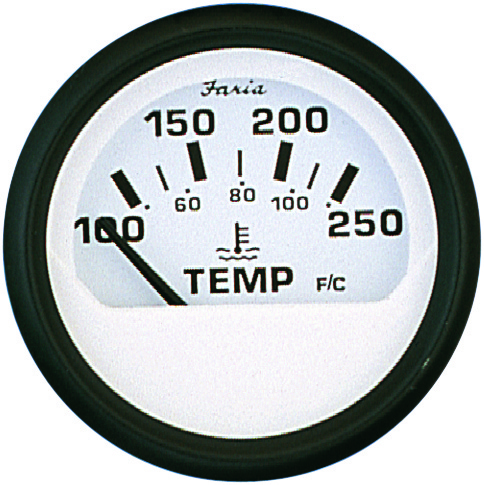 WATER TEMP.GAUGE 100-250 EURO WHITE by:  Faria Part No: 12904 - Canada - Canadian Dollars