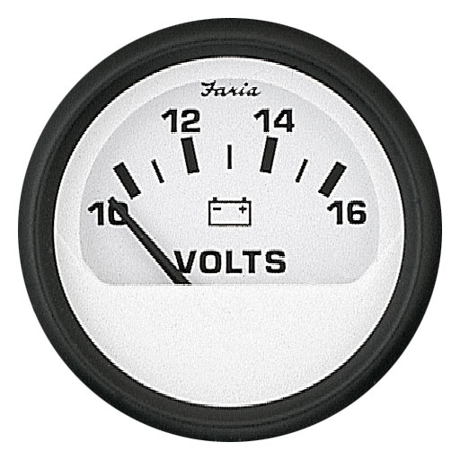 VOLTMETER 10-16V-DC EURO WHITE by:  Faria Part No: 12911 - Canada - Canadian Dollars