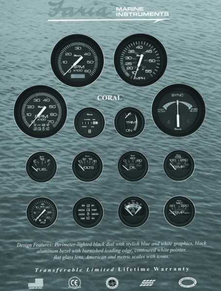 SPEEDOMETER 10-55 MPH CORAL by:  Faria Part No: 33009 - Canada - Canadian Dollars