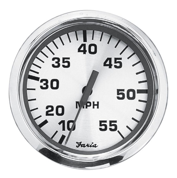 SPUN SILVER SPEEDOMETER 10-55 MPH by:  Faria Part No: 36009 - Canada - Canadian Dollars