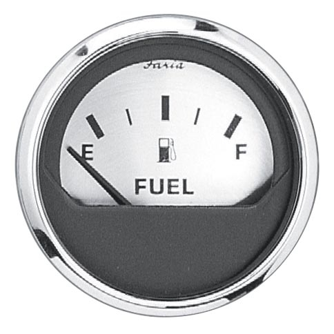 SPUN SILVER FUEL LEVEL GAUGE by:  Faria Part No: 16001 - Canada - Canadian Dollars