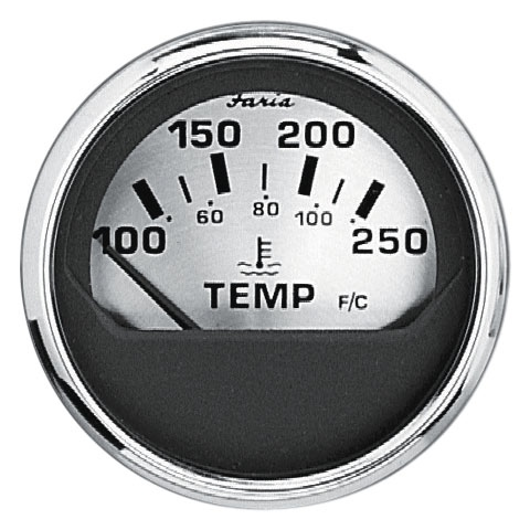SPUN SILVER WATER TEMPERATURE GAUGE by:  Faria Part No: 16004 - Canada - Canadian Dollars