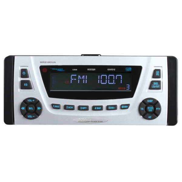IPX 6 Rated, 1-1/2 DIN Marine MP3/CD/AM/ by:  BossAudio Part No: MR2180UA - Canada - Canadian Dollars