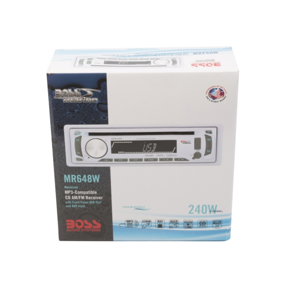 IN-DASH SINGLE-DIN MARIN MP3/CD/AM/FM WH by:  BossAudio Part No: MR648W - Canada - Canadian Dollars