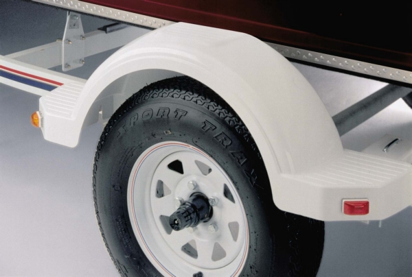 WHITE PLASTIC TRAILER FENDER W/STEPS 13