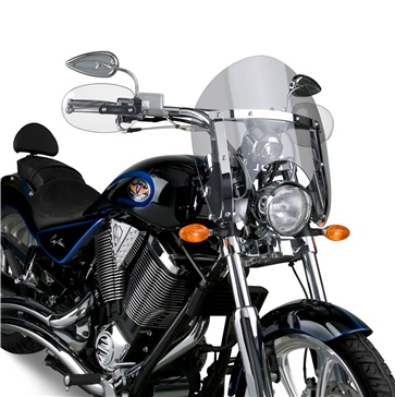 NATIONAL CYCLE SwitchBlade Shorty Windshield Front - Honda, Suzuki, Yamaha, Triumph, Victory - Polycarbonate