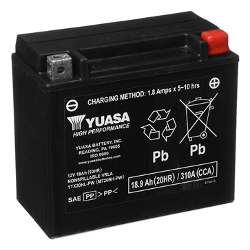 Yuasa Battery Maintenance Free AGM High Performance YTX20HL-PW