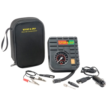 STOP & GO Mini-Air Compressor for Motorcycles, Scooters and ATV's
