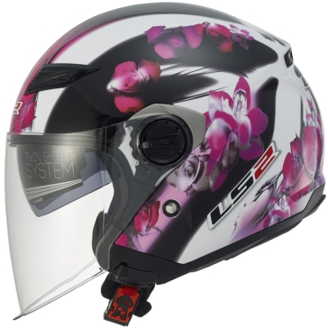 Floral LS2 Track OF569 Open-Face Helmet