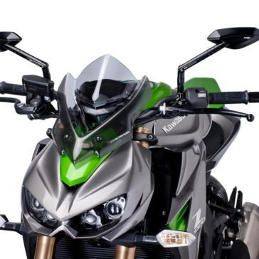PUIG Naked Windshield Front - Kawasaki - High Impact Acrylic