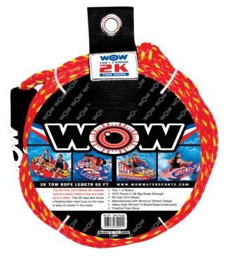 Corde de remorquage de sport nautique 2K, 60' WOW Corde de remorquage