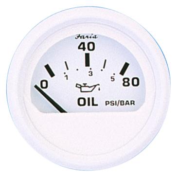 FARIA Dress White Series Oil Pressure Gauge