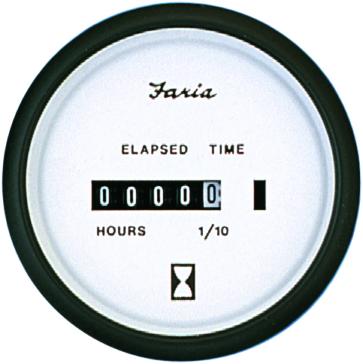 Faria Euro White Series Hourmeter Boat