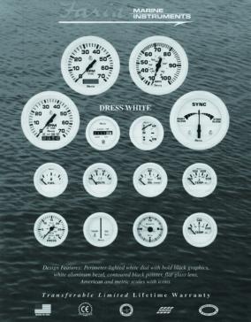 Faria Dress White Series Speedometer Boat