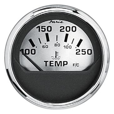Faria Spun Silver Series Water Temperature Gauge Boat - 706587