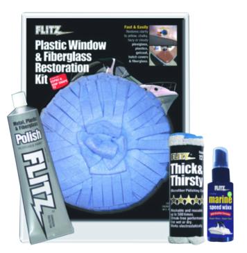 Ensemble de remise à neuf pour fenêtre en plastique et fibre de verre FLITZ