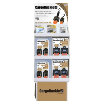 "BOATBUCKLE CargoBuckle 1"" & 2"" retractable Tie-Down POP Display Variable"