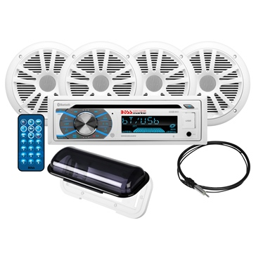 Boss Audio Audio Receiver Kit with Speaker - MCK508WB.64S Marine - 4 - 180 W