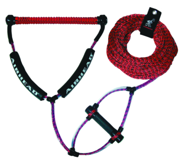 AIRHEAD Wakeboard Red Rope with Phat Grip 4 section wakeboard tow rope